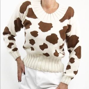 "Vintage ""Moo"" Knit Sweater"
